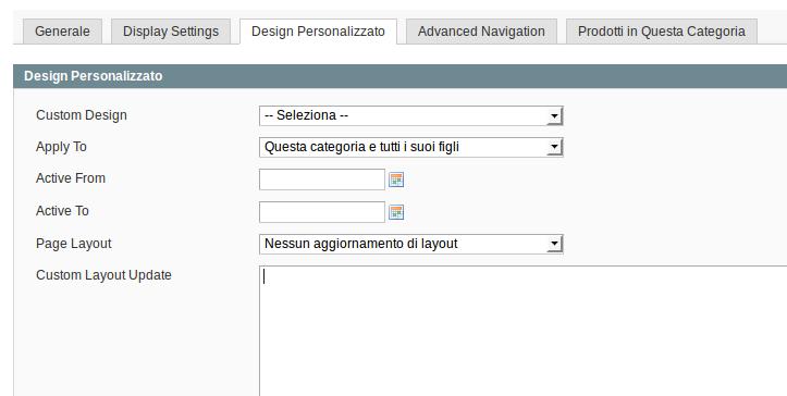 Impostare un layout personalizzato per una categoria